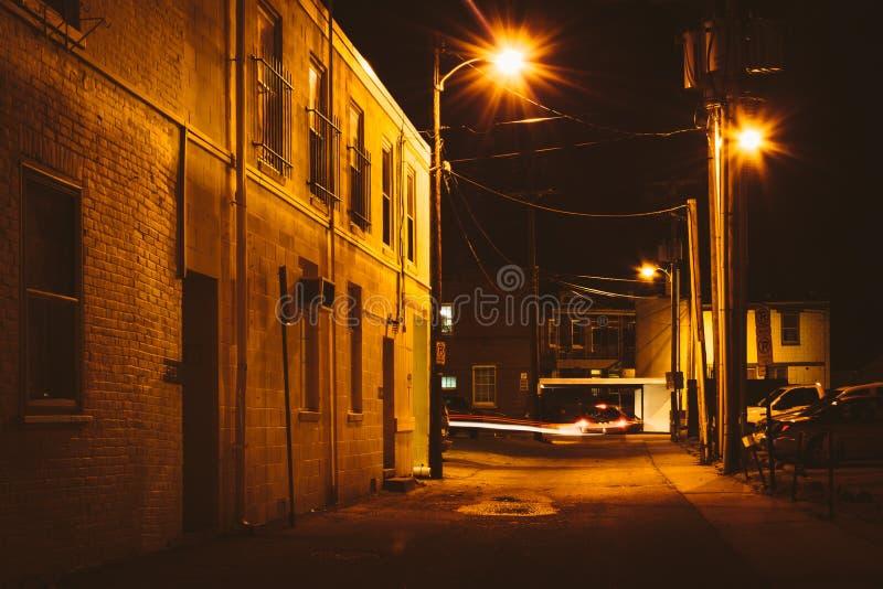 Vicolo alla notte, a Hannover, la Pensilvania fotografie stock