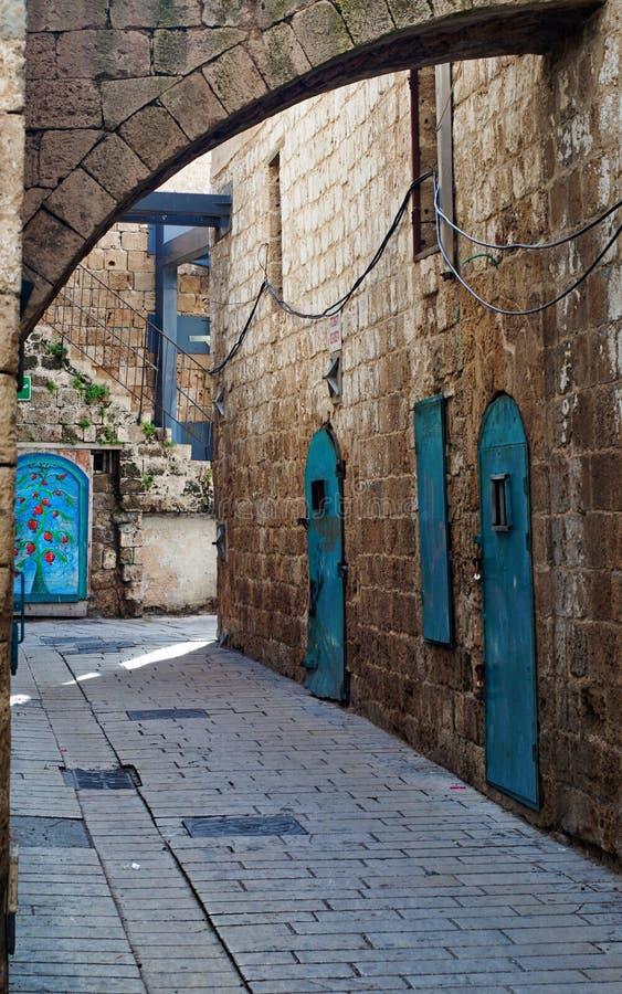 Vicolo dei mattoni di Brown con le belle porte e finestre blu di contrapposizione fotografia stock libera da diritti