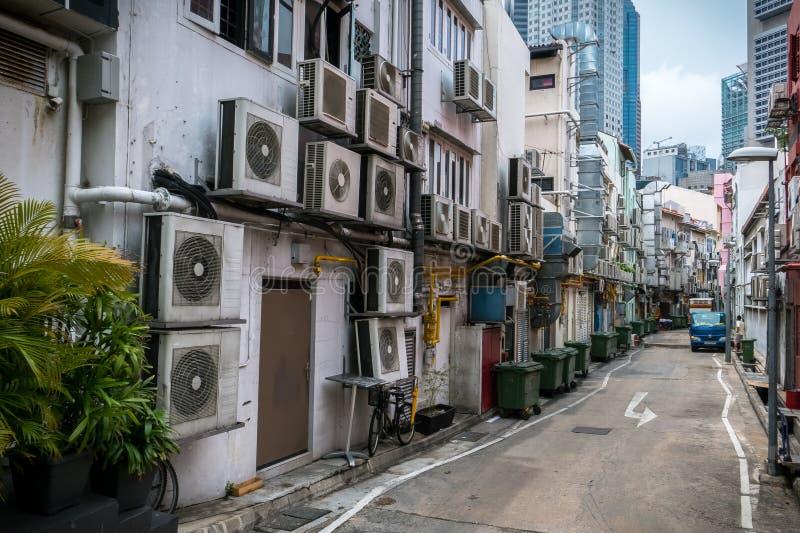 Vicolo del condizionatore d'aria - Singapore fotografie stock