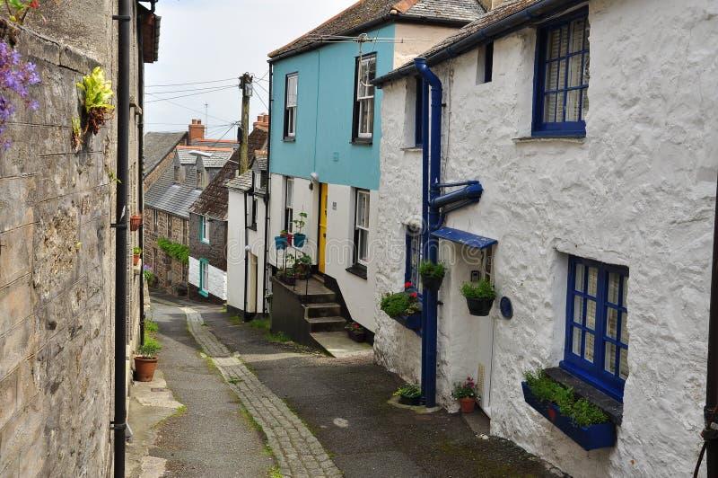 Vicolo del villaggio di Newlyn Cornovaglia, Inghilterra, Regno Unito immagine stock libera da diritti
