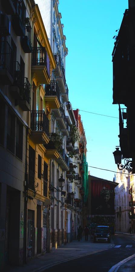 Vicolo di costruzione Colourful in Valencia Spain fotografia stock
