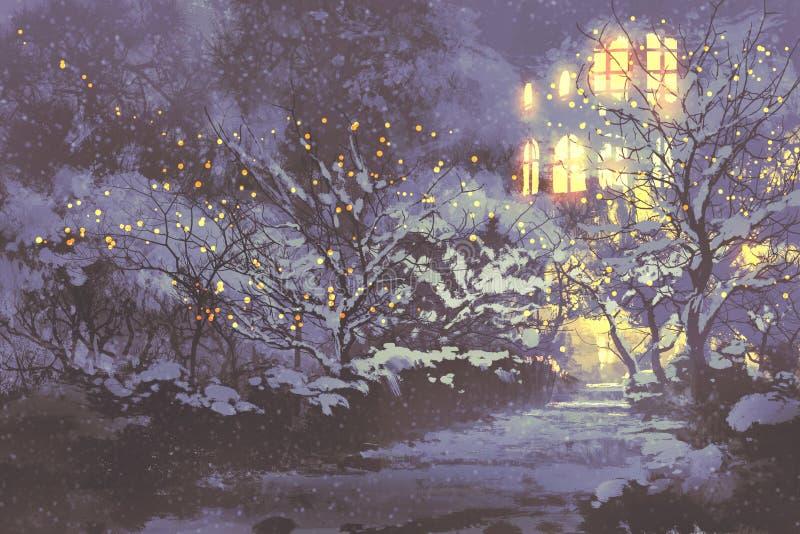 Vicolo di inverno di Snowy nel parco con le luci di natale illustrazione vettoriale