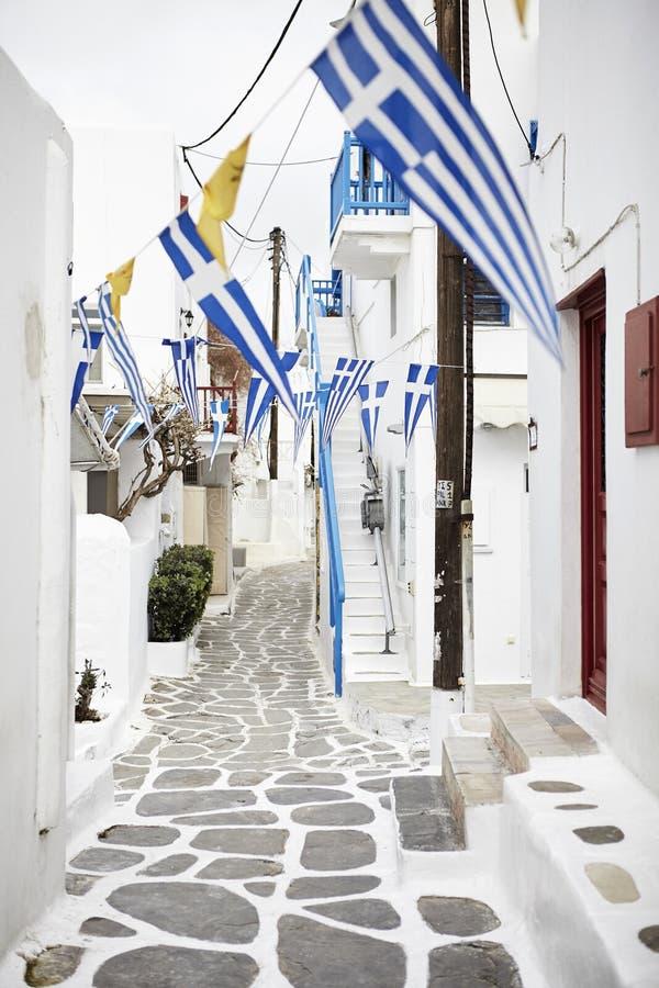 Vicolo di Mykonos, Cicladi Grecia fotografia stock libera da diritti