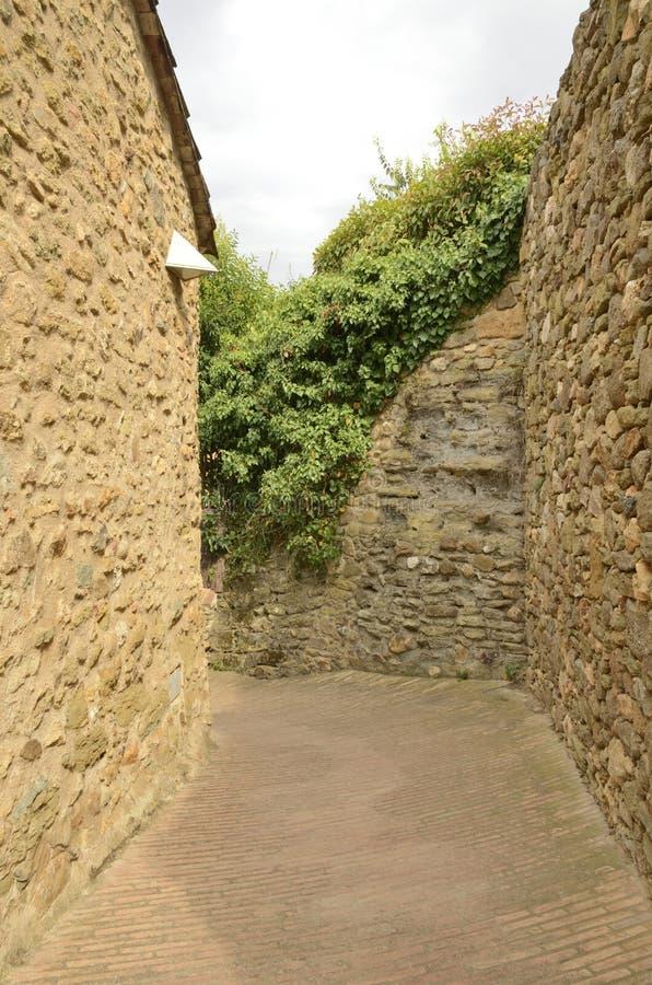 Vicolo di pietra in Monells fotografia stock