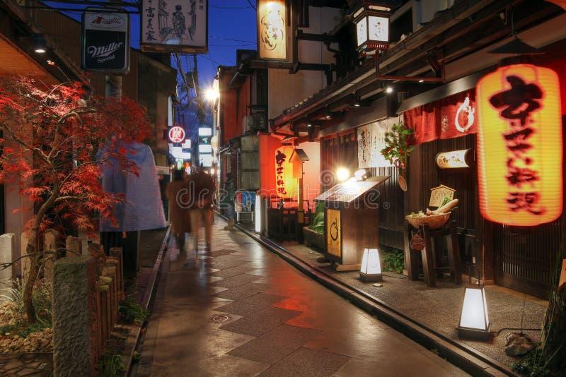 Vicolo di Pontocho, Kyoto, Giappone immagini stock libere da diritti