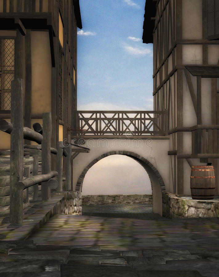 Vicolo medioevale illustrazione di stock