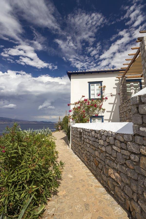 Vicolo pittoresco all'isola della hydra, Grecia immagini stock