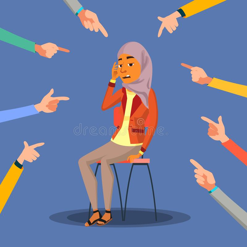 Victim Arab, Saudi Woman Vector. In Shame. Blame In Society. Surrounded By Hands With Index Fingers. Illustration vector illustration