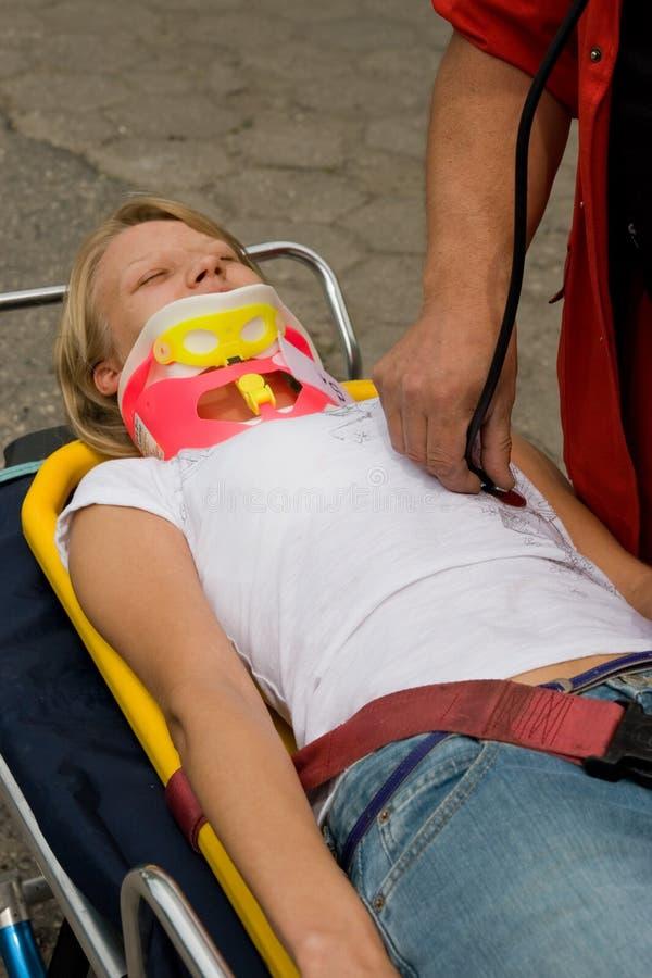 Victim on stretcher royalty free stock photo