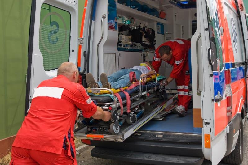 Victim on stretcher royalty free stock image