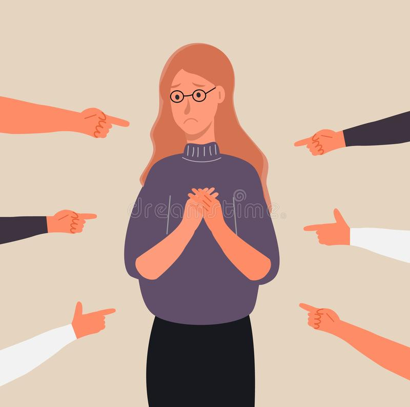Victim woman scene in society. Stressed girl in shame and hands with pointing finger. Concept of accusation in life, depression in work, blame, pleading vector royalty free illustration