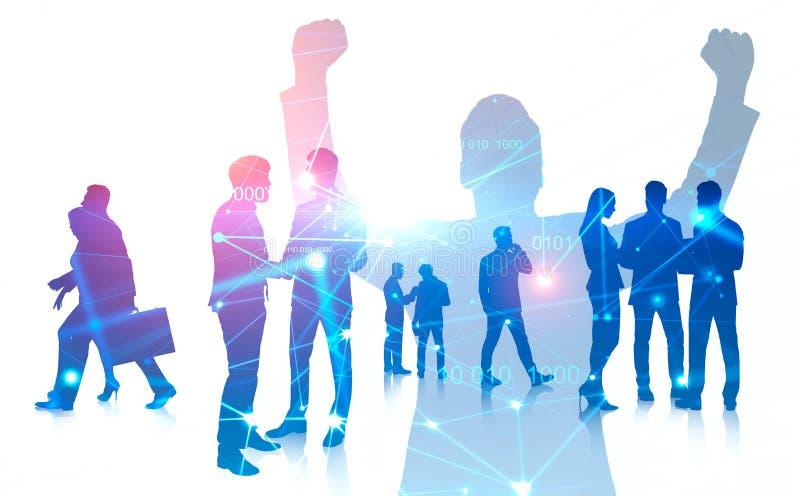 Victoire d'affaires et travail d'équipe, innovations numériques illustration stock