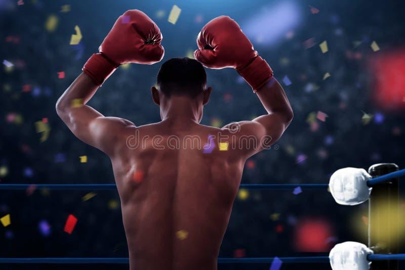 Victoire d'athlète de boxeur le match photos libres de droits