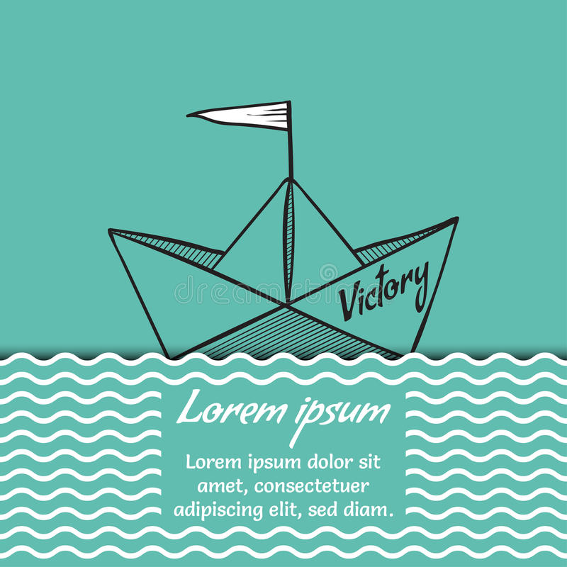 Victoire de bateau de papier d'origami sur l'illustration de vecteur de vagues de mer illustration de vecteur