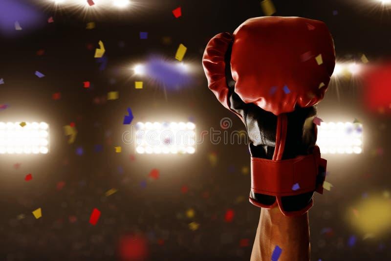 Victoire de boxeur le match de championnat photos stock