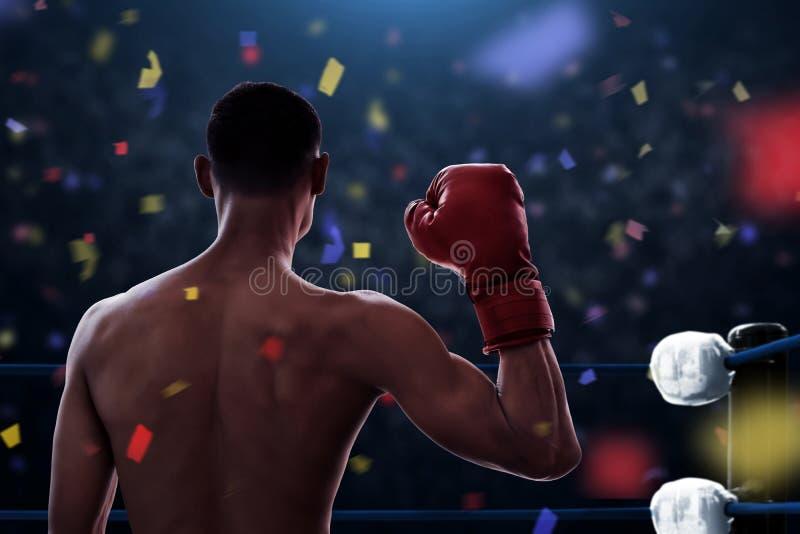 Victoire de boxeur le match de championnat photographie stock libre de droits