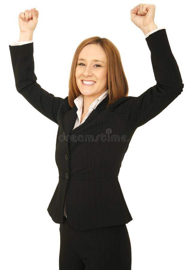 Victoire de femme d'affaires photo stock