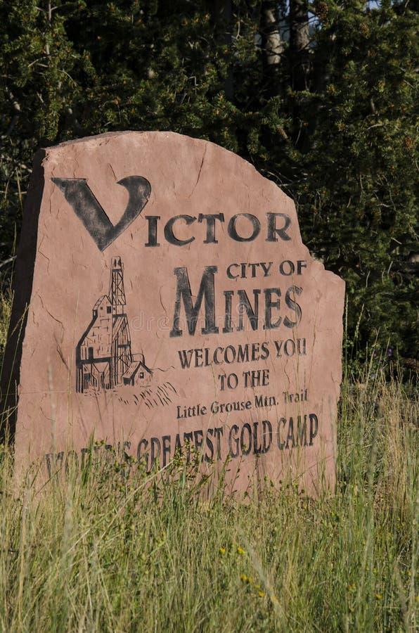 Victor City des Mies-Goldlager-Zeichens stockbild