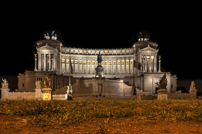Victor Emmanuel II monument by night. Rome, Italy. Victor Emmanuel II monument stock photography