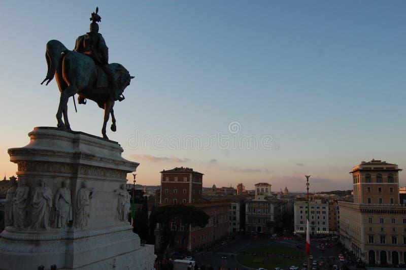 Victor Emmanuel II mounted figure statue. Rome royalty free stock image