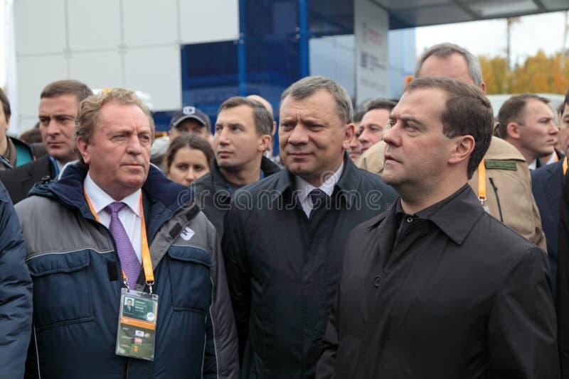 Victor Korman, Yuri Borisov en Dmitry Medvedev royalty-vrije stock afbeelding
