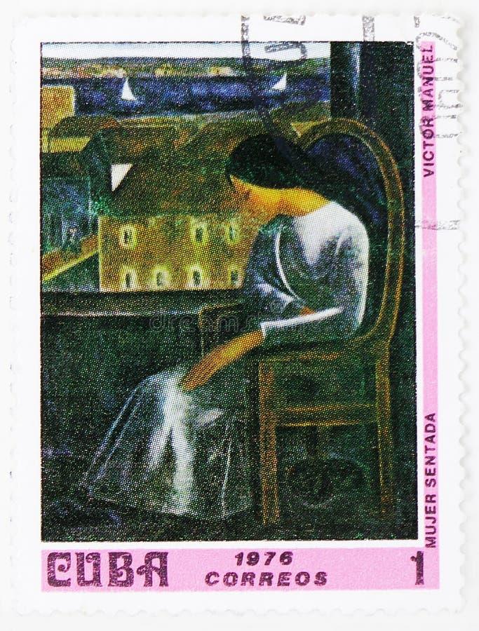 Victor Manuel : Femme assise, peintures du serie de Musée National, vers 1976 photo libre de droits