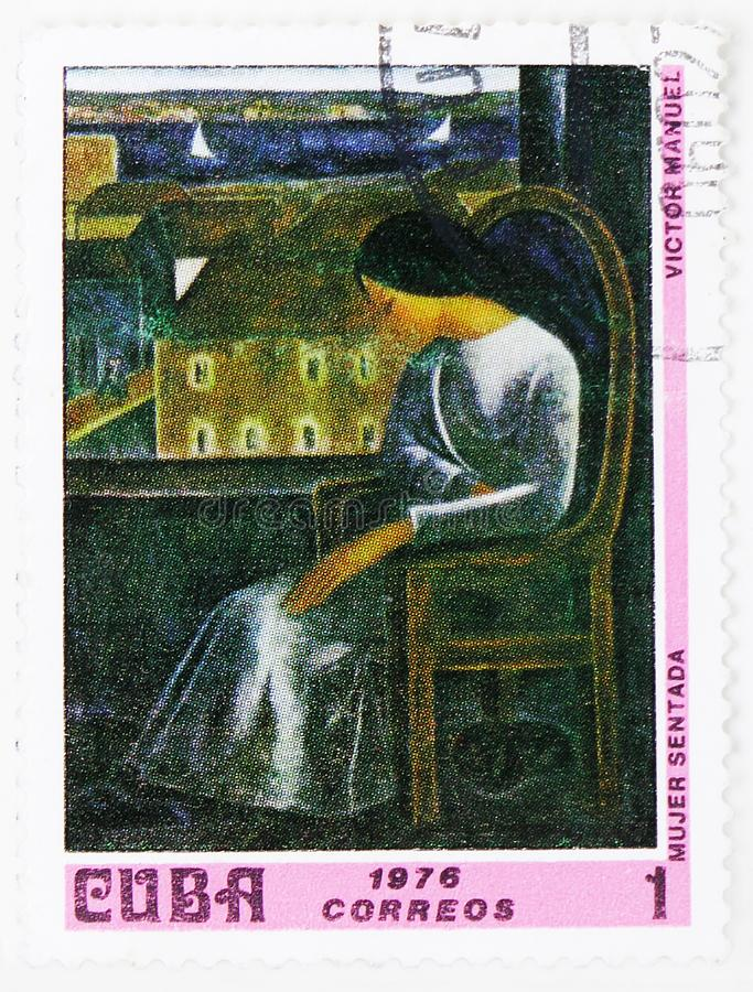 Victor Manuel : Seated Woman, Paintings from the National Museum serie, circa 1976. MOSCOW, RUSSIA - JULY 25, 2019: Postage stamp printed in Cuba shows Victor royalty free stock photo