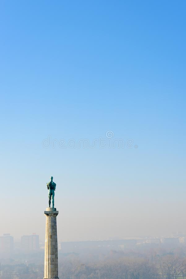 The Victor Monument, Kalemegdan, Belgrade, Serbia. Erected in 1928 to commemorate Serbia`s victory over Ottoman and Austro-Hungarian Empire during the Balkan royalty free stock images