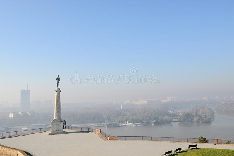 The Victor Monument Overlooking Novi Beograd. Kalemegdan, Belgrade, Serbia. Erected in 1928 to commemorate Serbia`s victory over Ottoman and Austro-Hungarian royalty free stock images