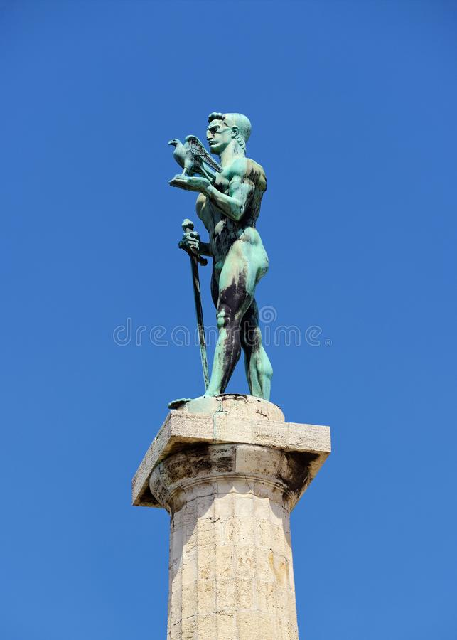The Victor Monument, Pobednik, Belgrade, Serbia. Built to commemorate Serbia`s victory over Ottoman and Austro-Hungarian Empire during the Balkan Wars and the royalty free stock images