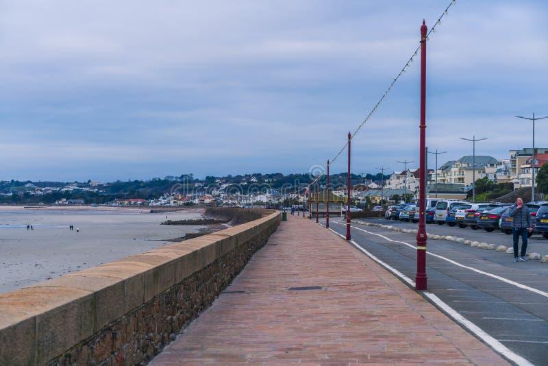 Victoria Avenue-promenade, Jersey, Kanaaleilanden, het Verenigd Koninkrijk, Europa stock foto