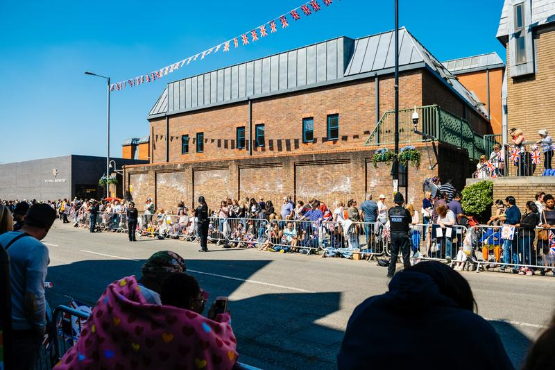 Victoria Barracks Police constable. WINDSOR, UNITED KINGDOM - MAY 19, 2018: Victoria Barracks police constable royal wedding marriage celebration of Prince Harry stock photography