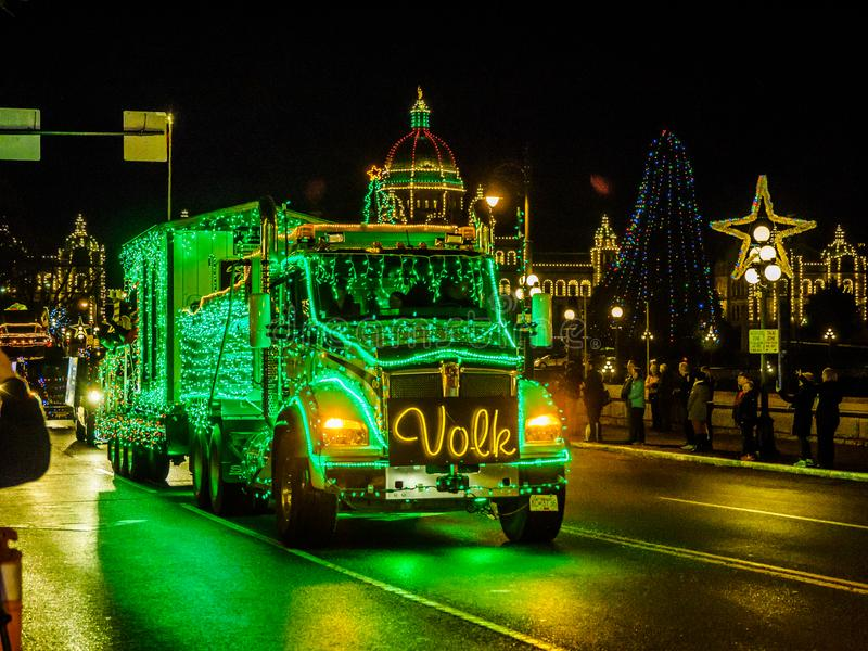 VICTORIA BC, CANADA - DECEMBER 12, 2017: Truck Light Parade royalty free stock image