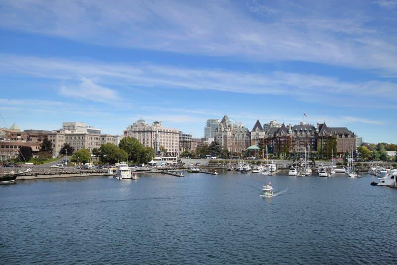 Victoria BC Inner Harbor. Victoria BC Canada Inner Harbor Marina and City Skyline royalty free stock photo