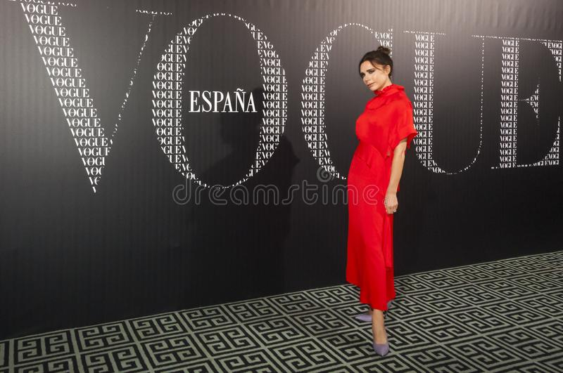 Victoria Beckham attends Vogue dinner in her honour in Madrid Sp royalty free stock images