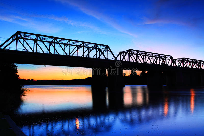 Sunset Victoria Bridge Penrith Australia stock images
