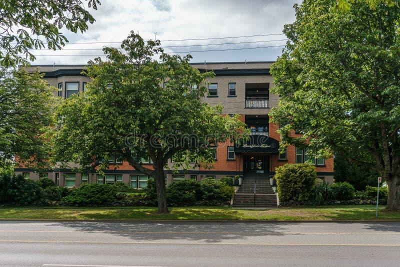 VICTORIA, CANADÁ - 13 DE JULHO DE 2019: opinião de construção histórica da casa de hampton das horas de verão da rua do cozinheir imagens de stock royalty free