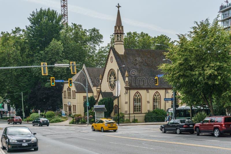 VICTORIA, CANADA - JULI 13, 2019: Bouwend Buitenvoorgevel van Kerk van onze Lord de Anglicaanse Kerk stock fotografie