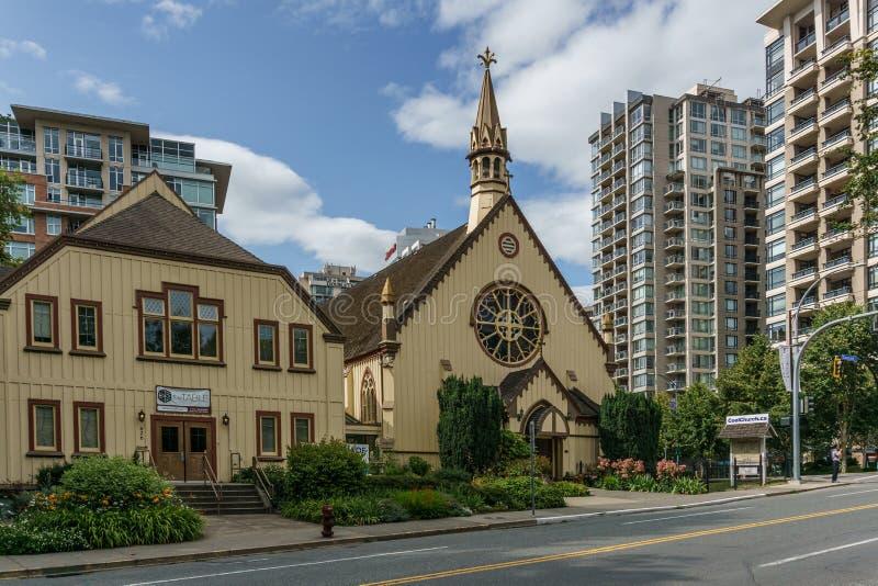 VICTORIA, CANADA - JULI 13, 2019: Bouwend Buitenvoorgevel van Kerk van onze Lord de Anglicaanse Kerk stock foto