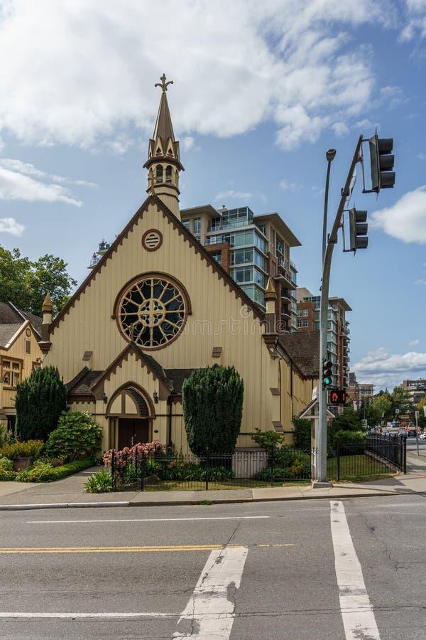 VICTORIA, CANADA - JULI 13, 2019: Bouwend Buitenvoorgevel van Kerk van onze Lord de Anglicaanse Kerk royalty-vrije stock foto's