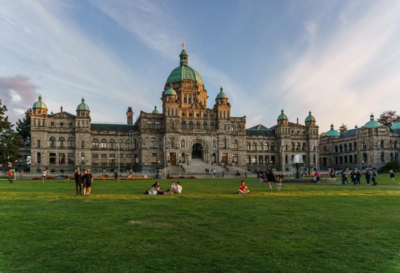 VICTORIA, CANADA - JULY 13, 2019: parliament building in the city center of Victoria historical and travel destination. British, columbia, bc, architecture stock photos