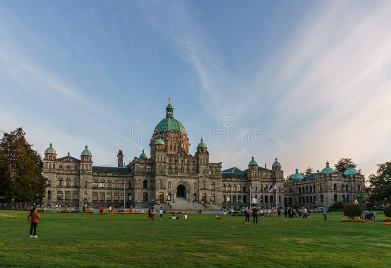 VICTORIA, CANADA - JULY 13, 2019: parliament building in the city center of Victoria historical and travel destination. British, columbia, bc, architecture stock photo