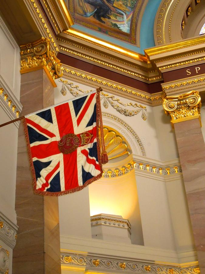 Victoria Canada Parliament Interior Western Scots Royal Union Flag. The Royal Union flag shown is in honor of the 67th Battalion also called Western Scots. This royalty free stock photos