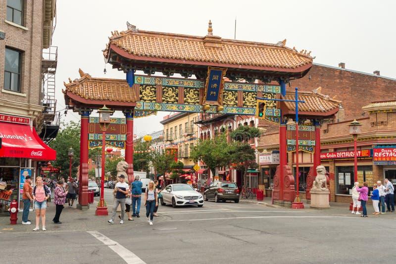 Victoria, Columbia Britânica, Canadá - 6 de setembro de 2017: Bairro chinês imagens de stock