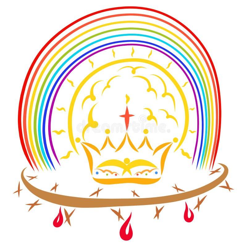 Victoria de Jesus Christ, de la corona de espinas y de la corona debajo del shi stock de ilustración