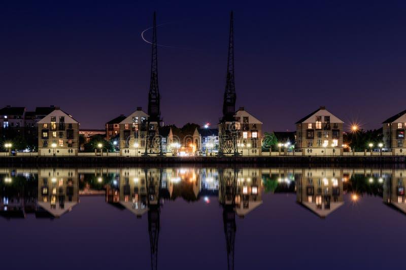 Victoria Dock royale au crépuscule image stock