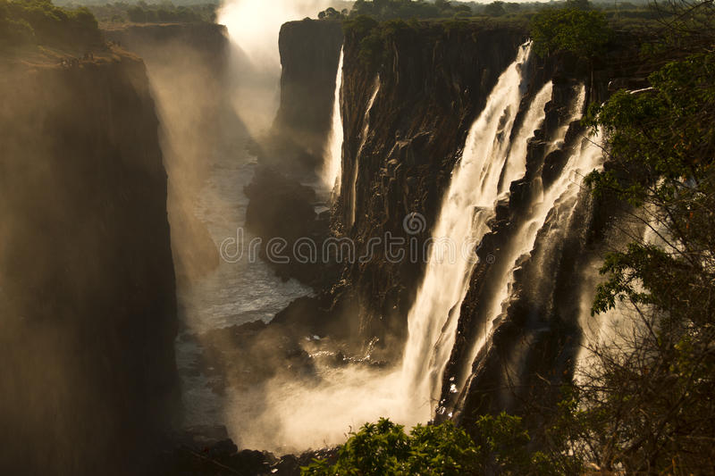Victoria Falls. (Vic waterfall), Livingstone, Zambia. Soft focus royalty free stock image