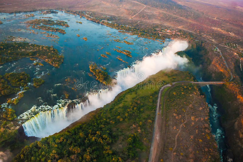Victoria Falls from the Air royalty free stock photos