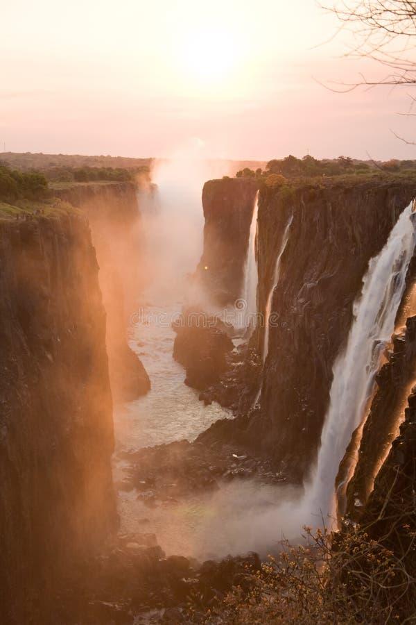 Victoria Falls al tramonto immagine stock libera da diritti
