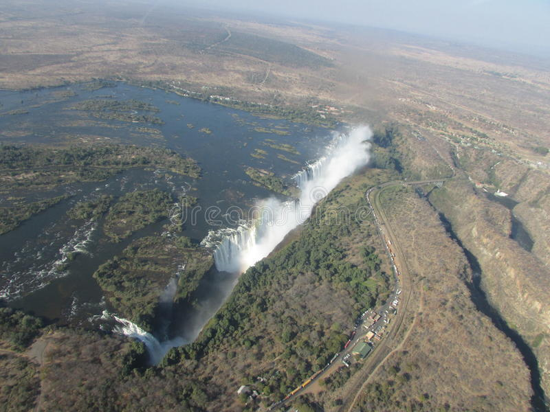 Victoria Falls. An amazing aerial view of one of the seven natural wonders of the world - Victoria Falls royalty free stock photos